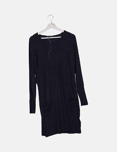 Vestido tricot negro detalle bolsillos