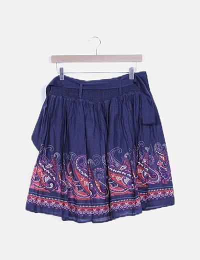 Falda azul marino estampado vintage