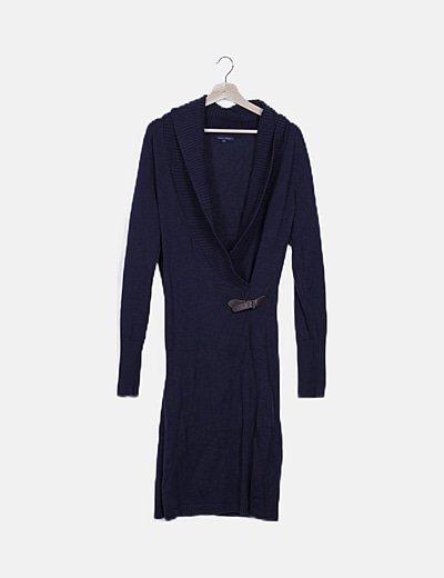Vestido tricot azul marino detalle hebilla