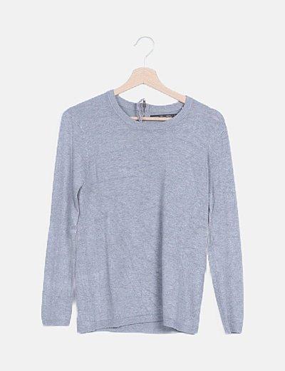 Suéter gris manga larga
