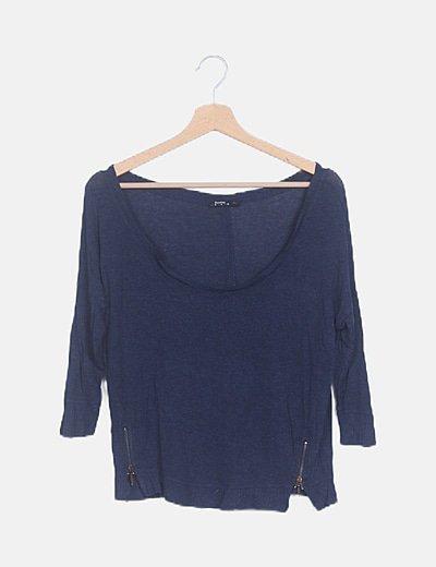 Camiseta azul marino jaspeada detalle cremalleras