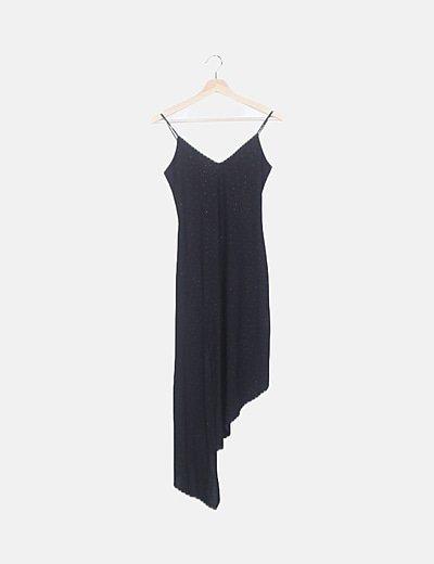 Vestido fluido asimétrico negro detalles glitter