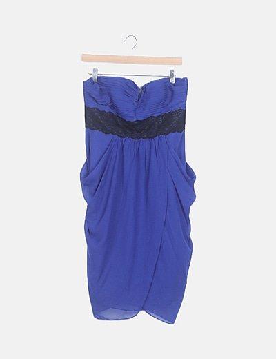 Vestido fluido azul escote palabra de honor