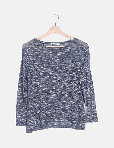 Jersey tricot azul marino jaspeado