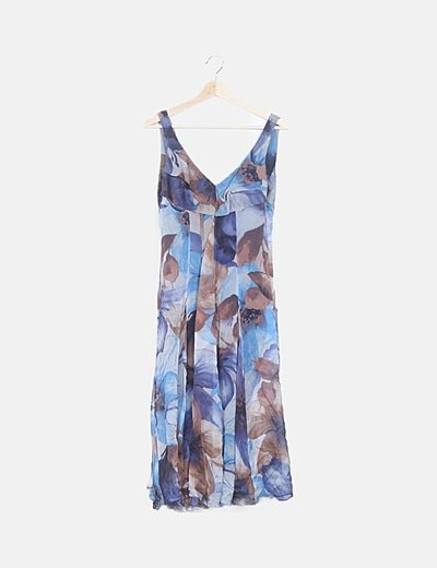 Vestido fluido estampado tonos azules
