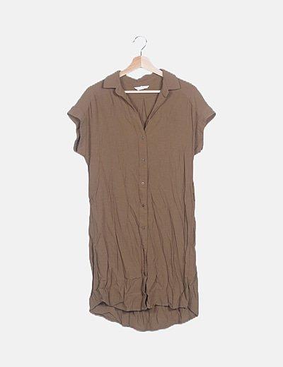 Vestido abotonado khaki