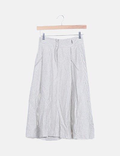 Falda midi gris calada