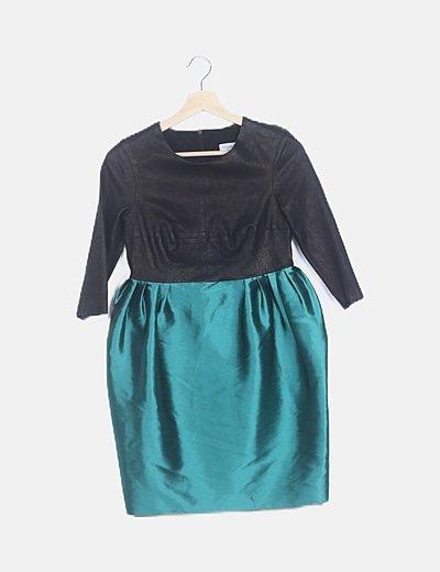 Vestido combinado falda verde satinada