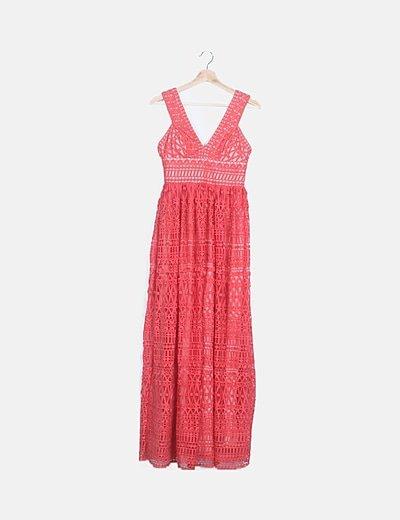 Vestido crochet coral