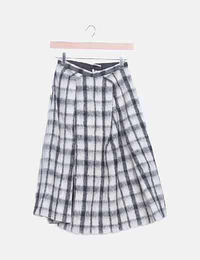 Falda midi lana cuadros