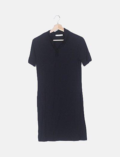 Vestido canalé negro aberturas