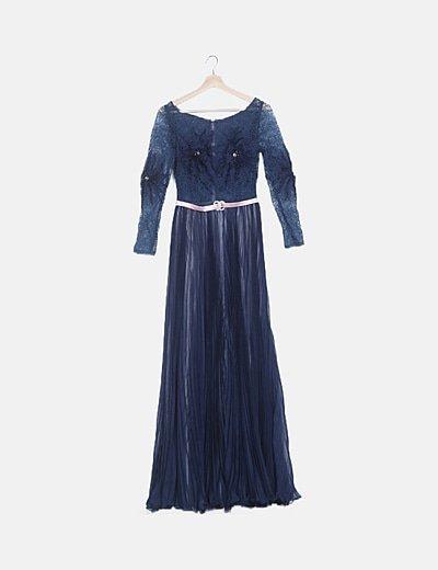 Vestido texturizado azul marino plisado