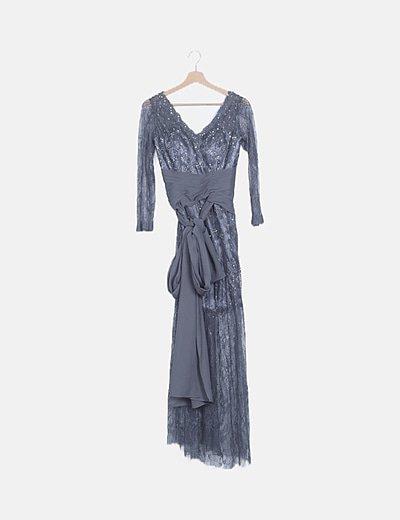 Vestido encaje gris con strass