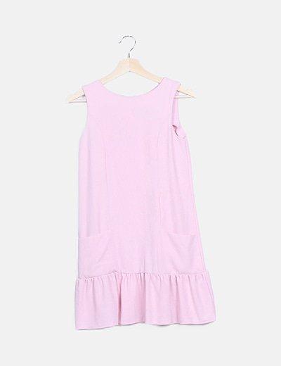 Vestido rosa volante