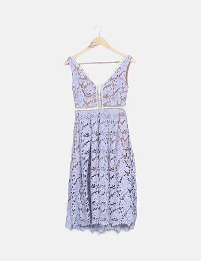Vestido midi crochet lila