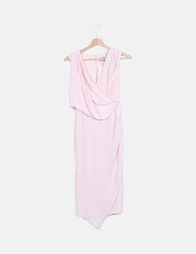 Vestido drapeado rosa claro