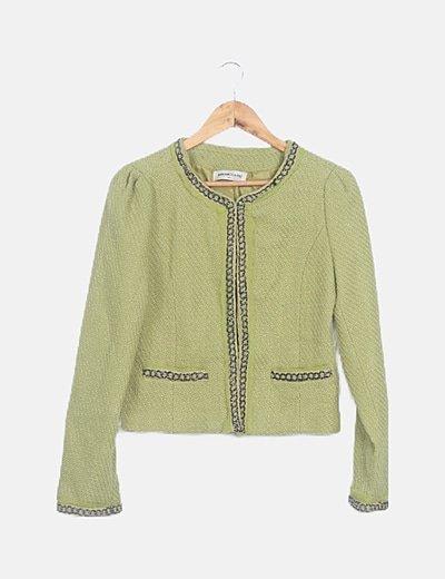 Chaqueta tweed verde