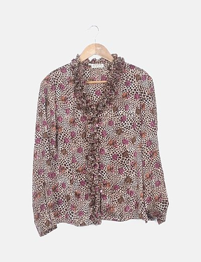 Blusa marrón animal print escote drapeado