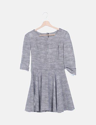 Vestido mini gris evase