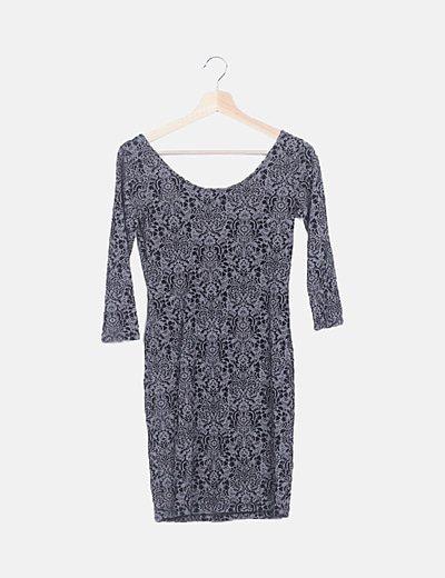 Vestido mini gris texturizado