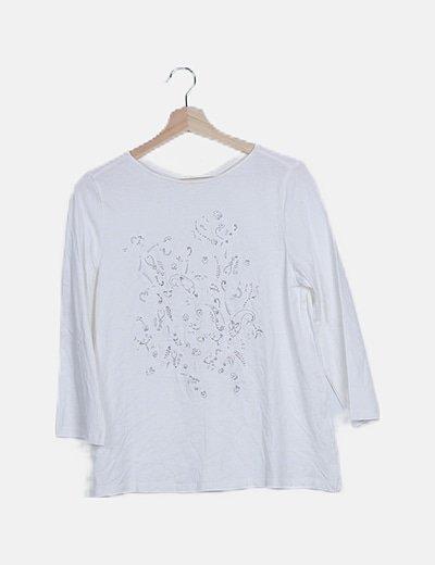 Camiseta manga larga bordado flores con glitter