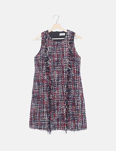 Vestido mini tweed flecos