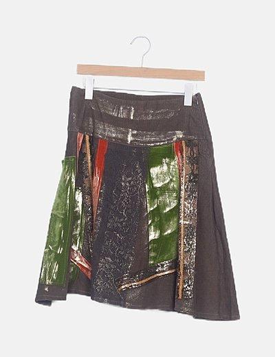 Falda midi verde caqui combinada
