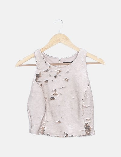 Crop top lentejuelas beige