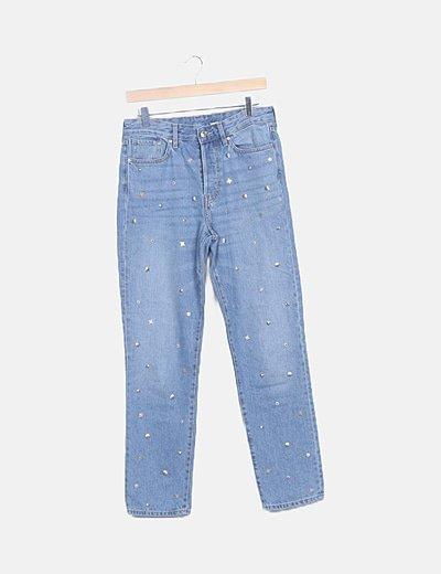 Jeans denim azul tachas