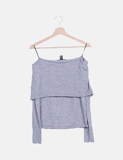 Suéter punto gris