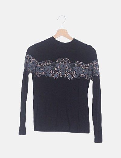 Camiseta negra texturizada manga larga