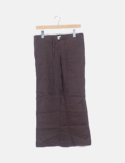 Pantalón fluido marrón oscuro