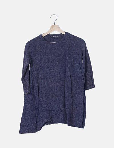Camiseta oversize azul marino jaspeada