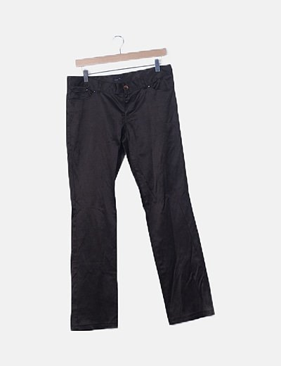 Pantalón satinado marrón
