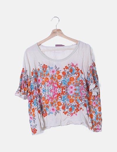 Blusa beige oversize print floral