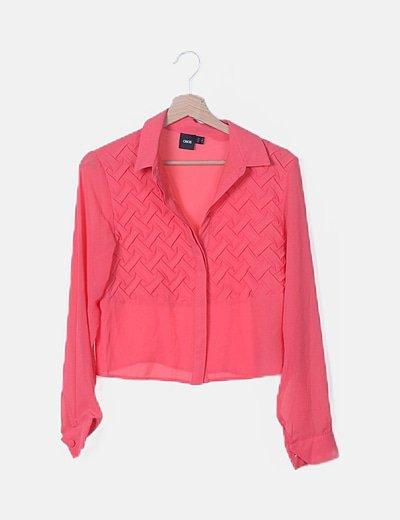 Camisa coral crop texturizada