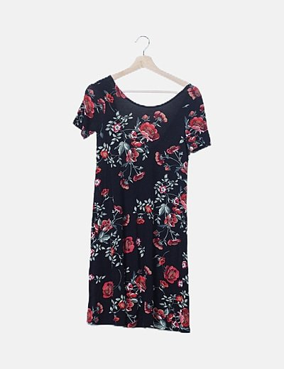 Vestido negro evasé print floral