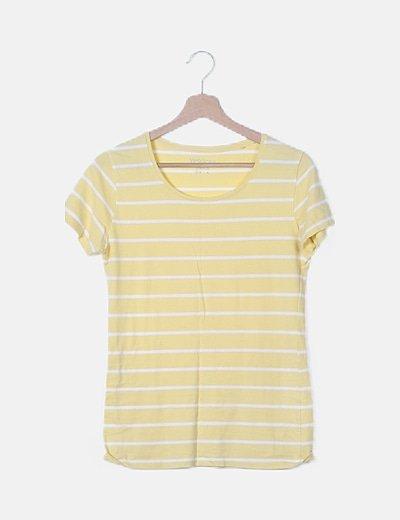 Camiseta amarilla rayas blancas