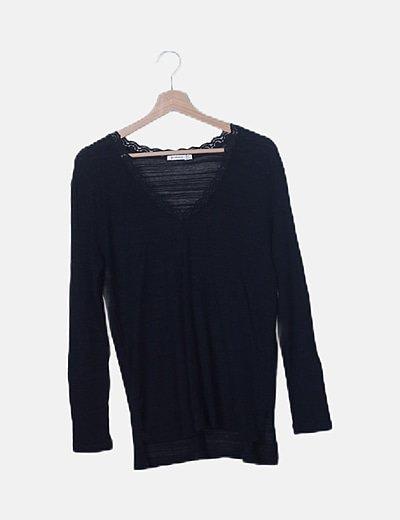 Jersey tricot negro detalle encaje