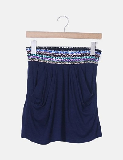 Mini falda fluida azul marina paillettes