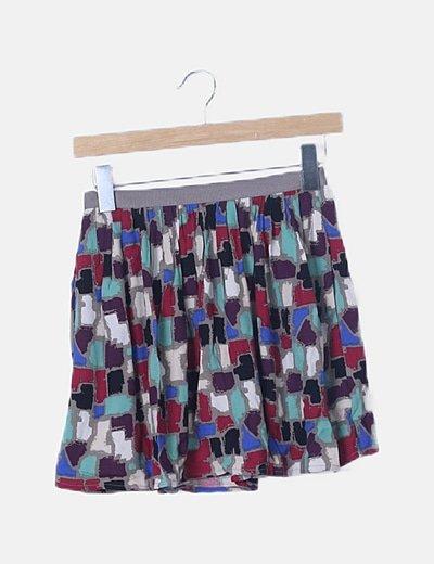 Mini falda gris estampado multicolor