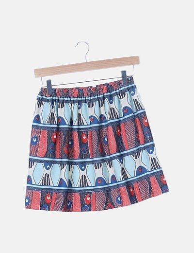 Mini falda estampado multicolor