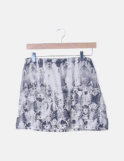 Falda mini beige estampada animal print