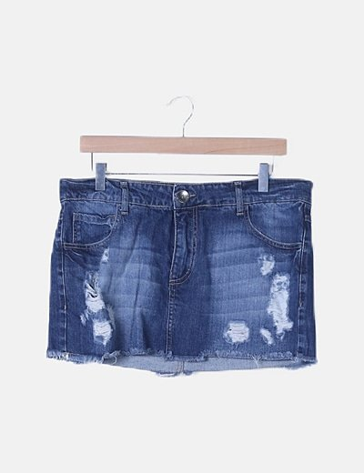 Falda mini denim azul ripped