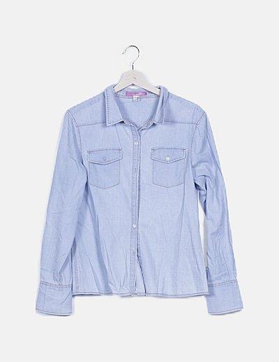 Camisa denim azul abotonada