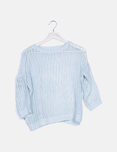 Jersey tricot azul turquesa troquelado