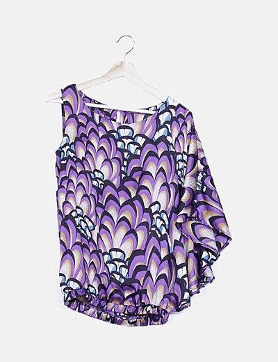 Blusa morada asimétrica estampado combinado