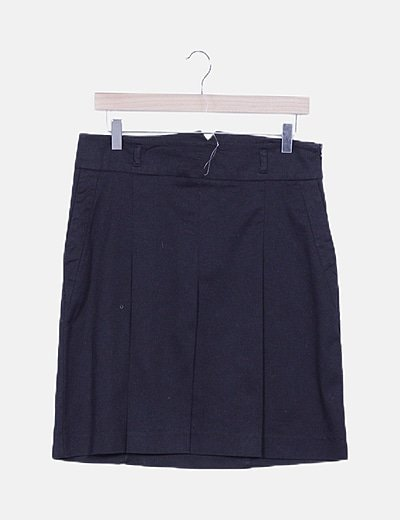 Falda midi negra detalles plisados