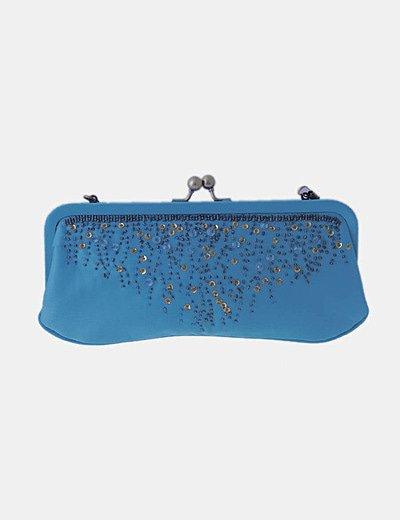 Bolso de mano azul con paillettes