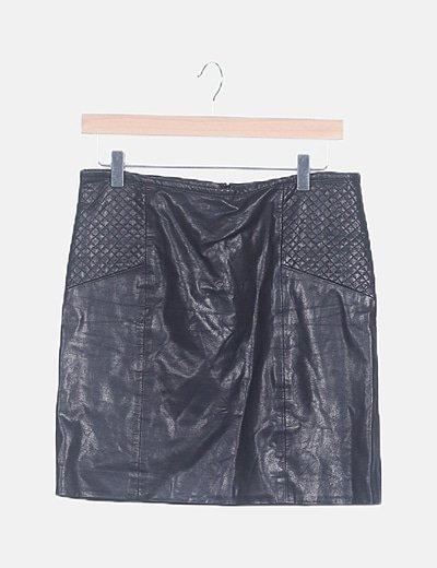 Falda mini negra polipiel